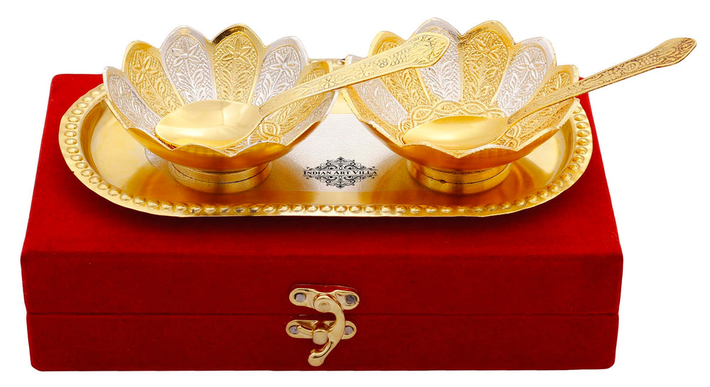Silver Plated Gold Polished Lotus Design Set of 2 Bowl with 2 Spoon & 1 Tray, Diwali Festive Gifts Item