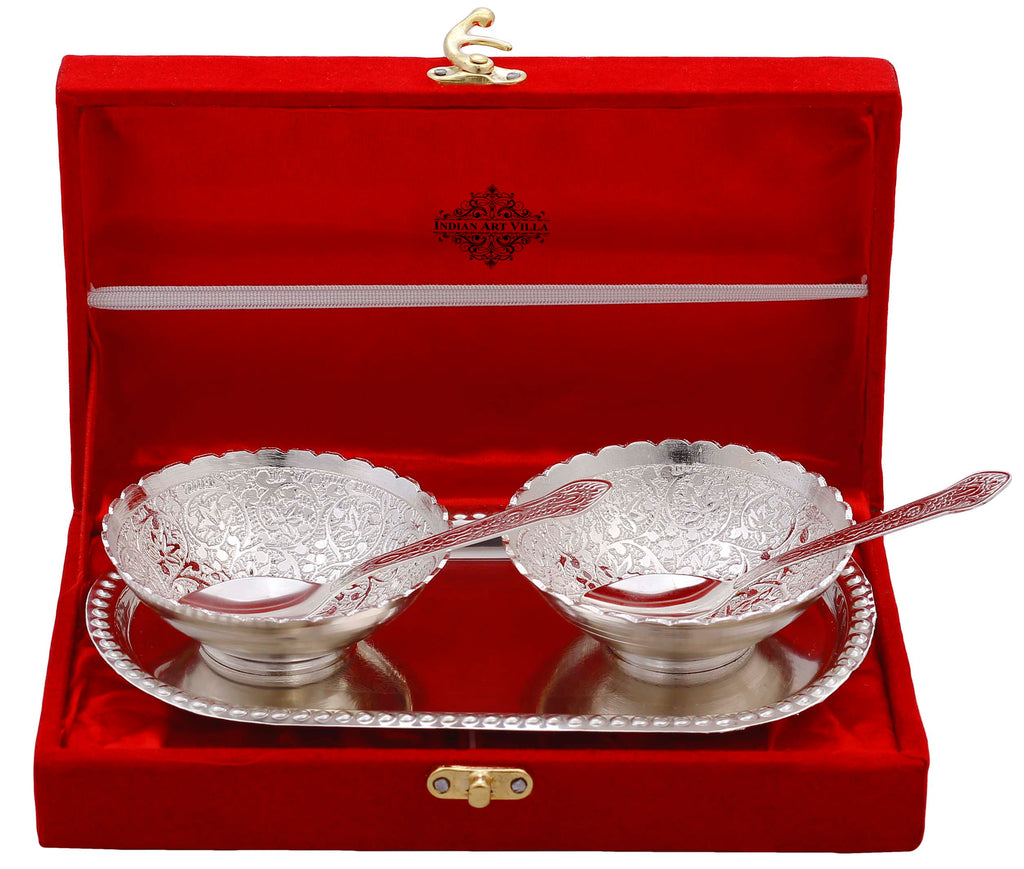 Silver Plated Embossed Flower Design Set of 2 Bowl with 2 Spoon & 1 Tray