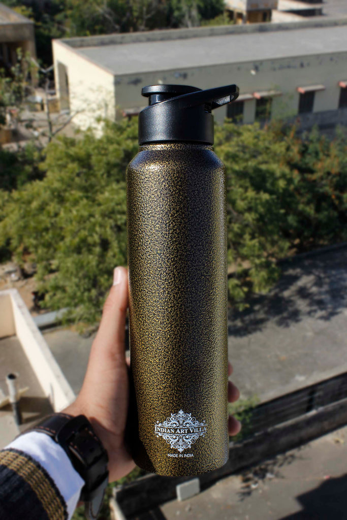 Steel Flat  Bottle With Sipper Cap Antique gold 1000 ML