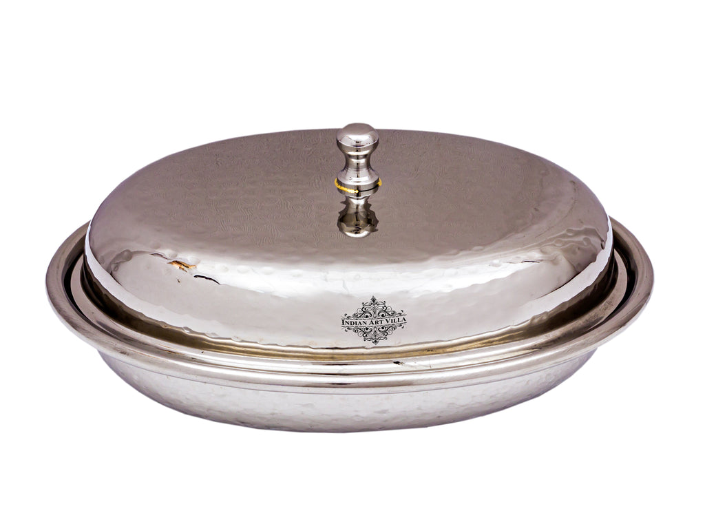 Stainless Steel Oval Hammered Design Donga with Lid