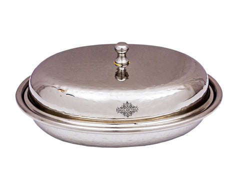 Stainless Steel Hammered Oval Donga with Lid