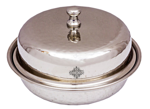 Stainless Steel Hammered Round Donga with Lid