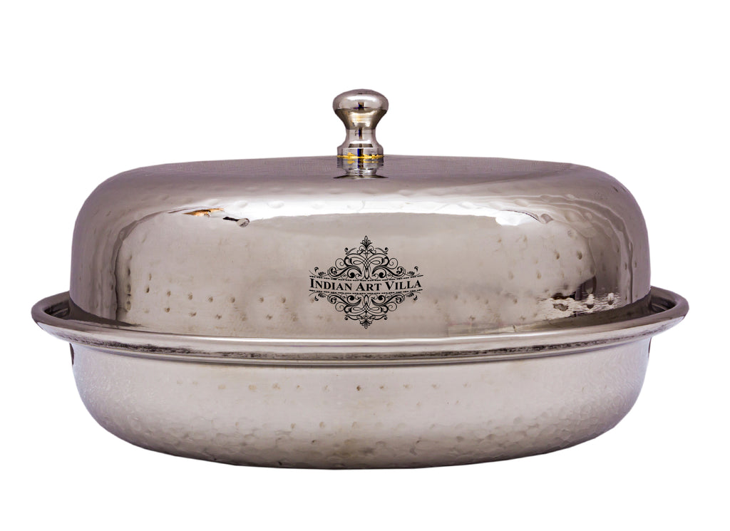 Stainless Steel Round Hammered Design Donga with Lid