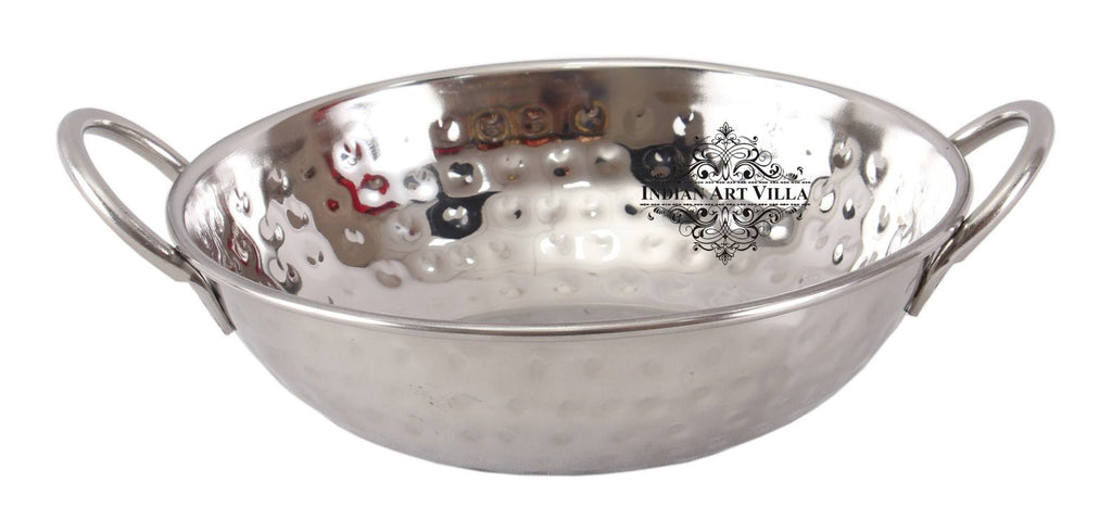 Steel Hammered Kadhai Wok with Round Handle