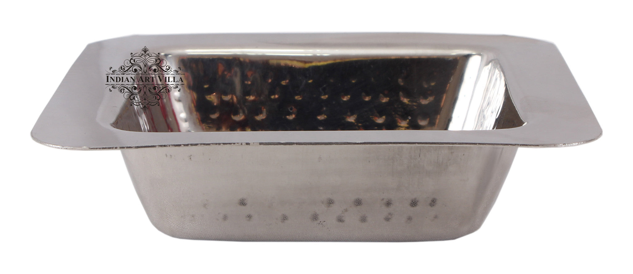 Steel Hammered Design Square Entrée Bowl