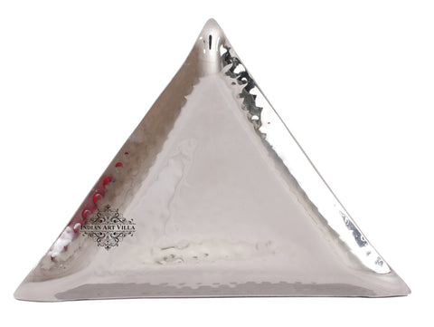 Steel Hammered Triangular Platter Tray | Length 26 cm | 32 cm