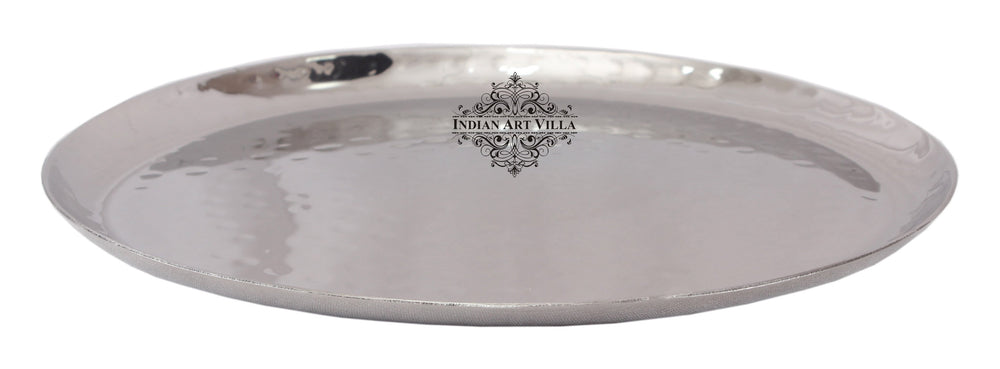 Steel Hammered Design Round Platter Tray