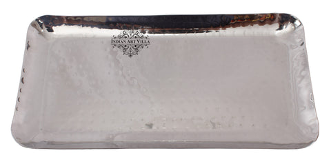 Steel Hammered Rectangular Platter Tray | Serving Dish Tableware 25.5 cm