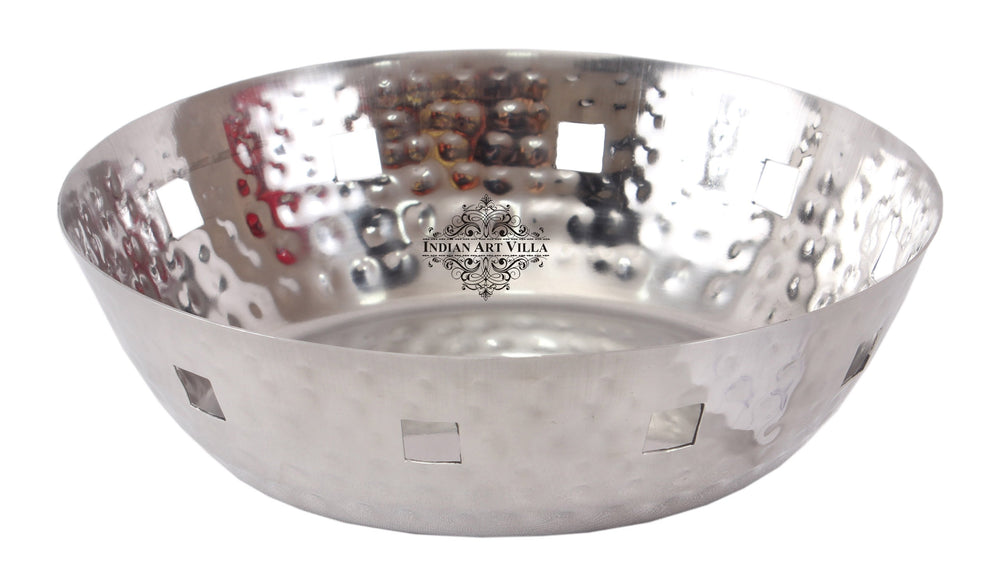Steel Hammered Design Round Bread Basket