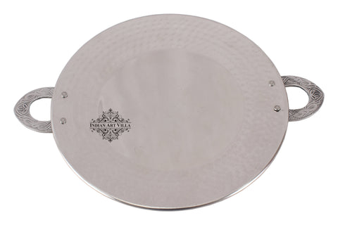 Steel Hammered Tawa Pan Tray with Embossed Handle|Serving Dishes