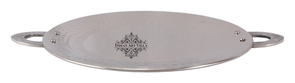 Steel Hammered Design Tawa Pan Tray with Embossed Design Handle