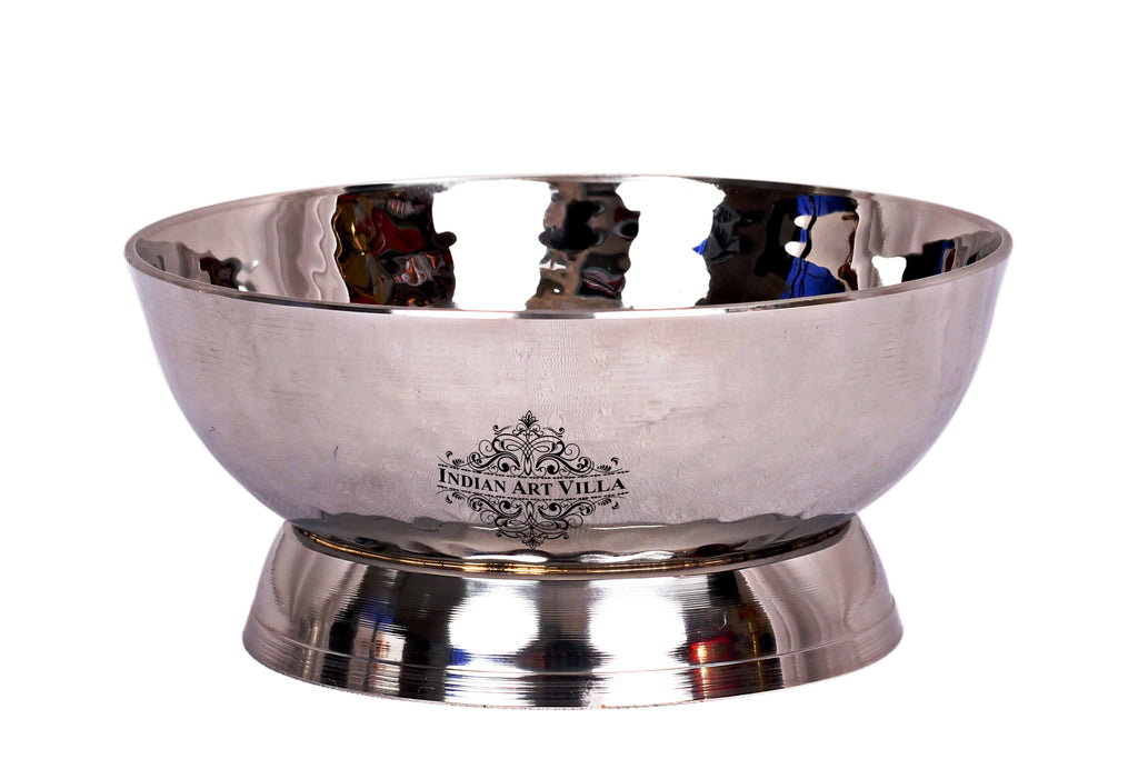 Steel Hammered Design Dessert Bowl with Stand 100 ML