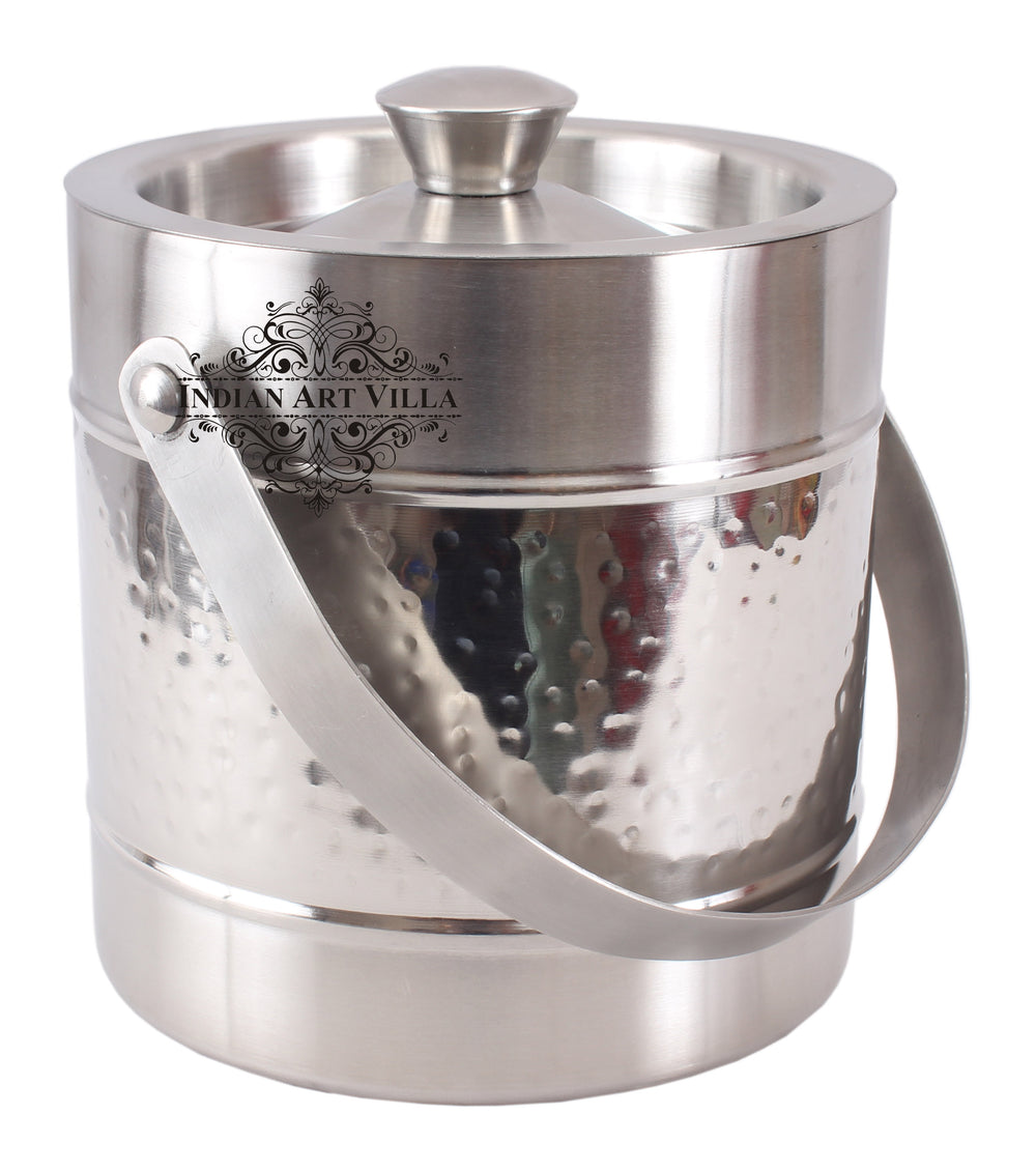 Steel Hammered Ice Bucket with Lid - Storing Serving Ice Cubes