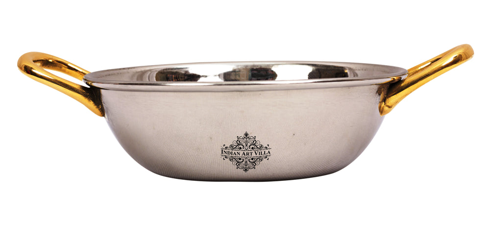 Steel Plain Design Kadhai with Brass Handle