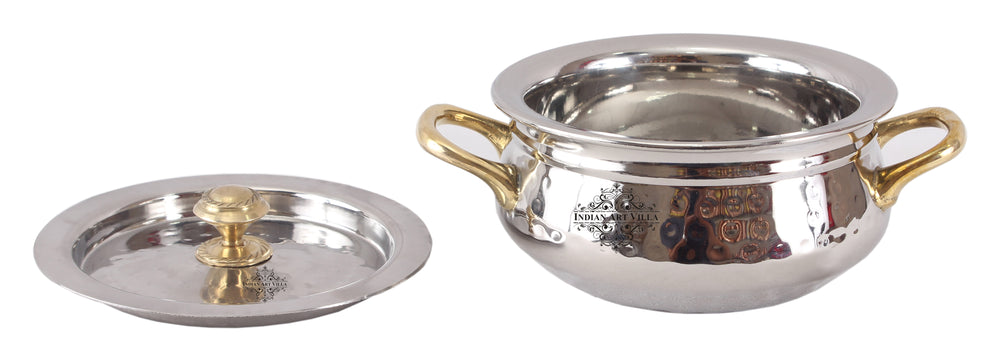 Steel Hammered Design Handi with Brass Handle with Lid
