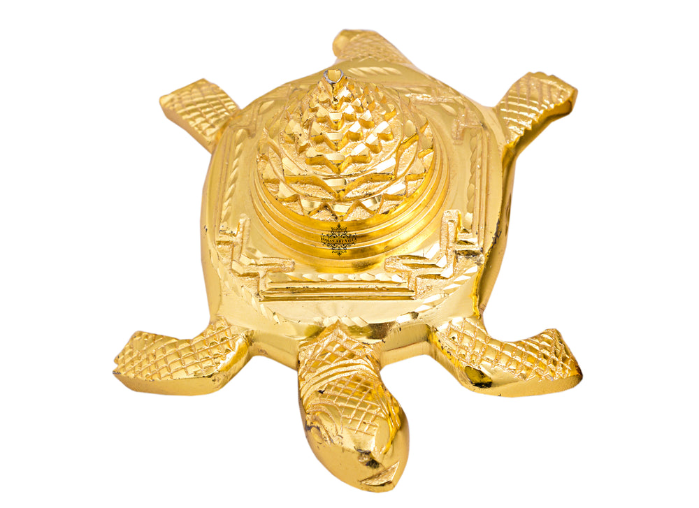 Brass Handmade Vastu Tortoise with 3 Stage Pyramid