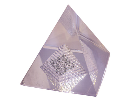 "Transparent Crystal Vastu Pyramid | Increase Concentration | Flow of Positivity | Height 1.5"" Inch and 2.0"" Inch"