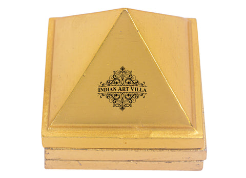 "Handmade Brass 3 Stage Vastu Pyramid with Vastu Yantra | Increase Concentration | Flow of Positivity | Height 1.6"" Inch and 2.1"" Inch"