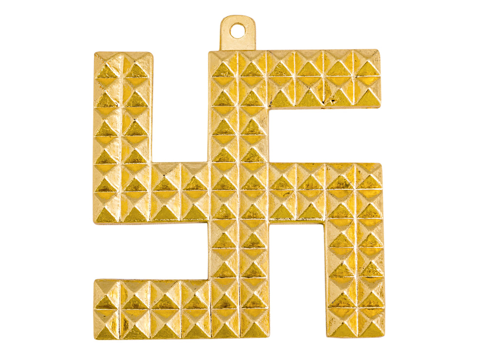 Pyramid Design Brass Swastik, Wall Hanging