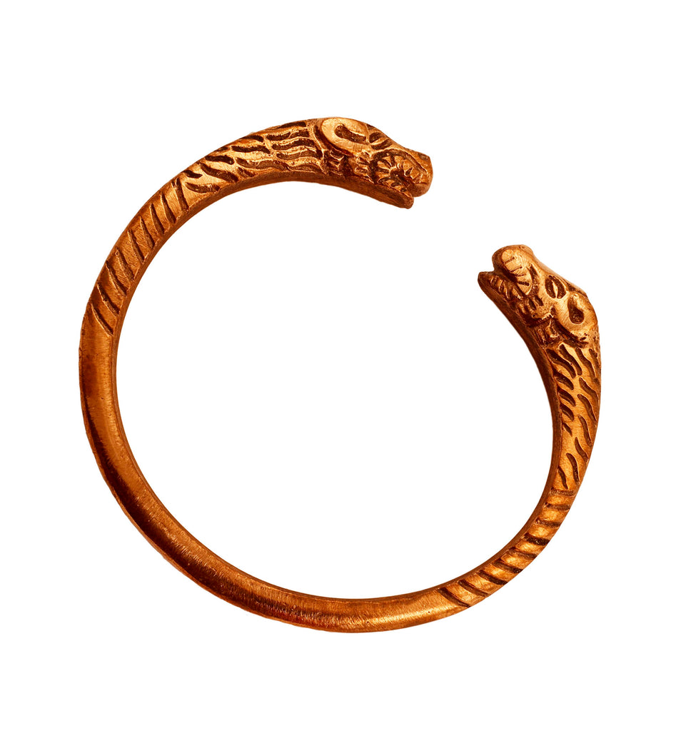 Copper Round Open Mouth Lion Design Kada