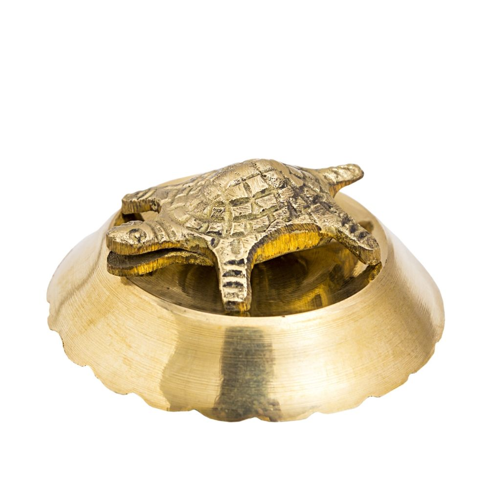 Brass Handmade Open Mouth Tortoise with Bowl