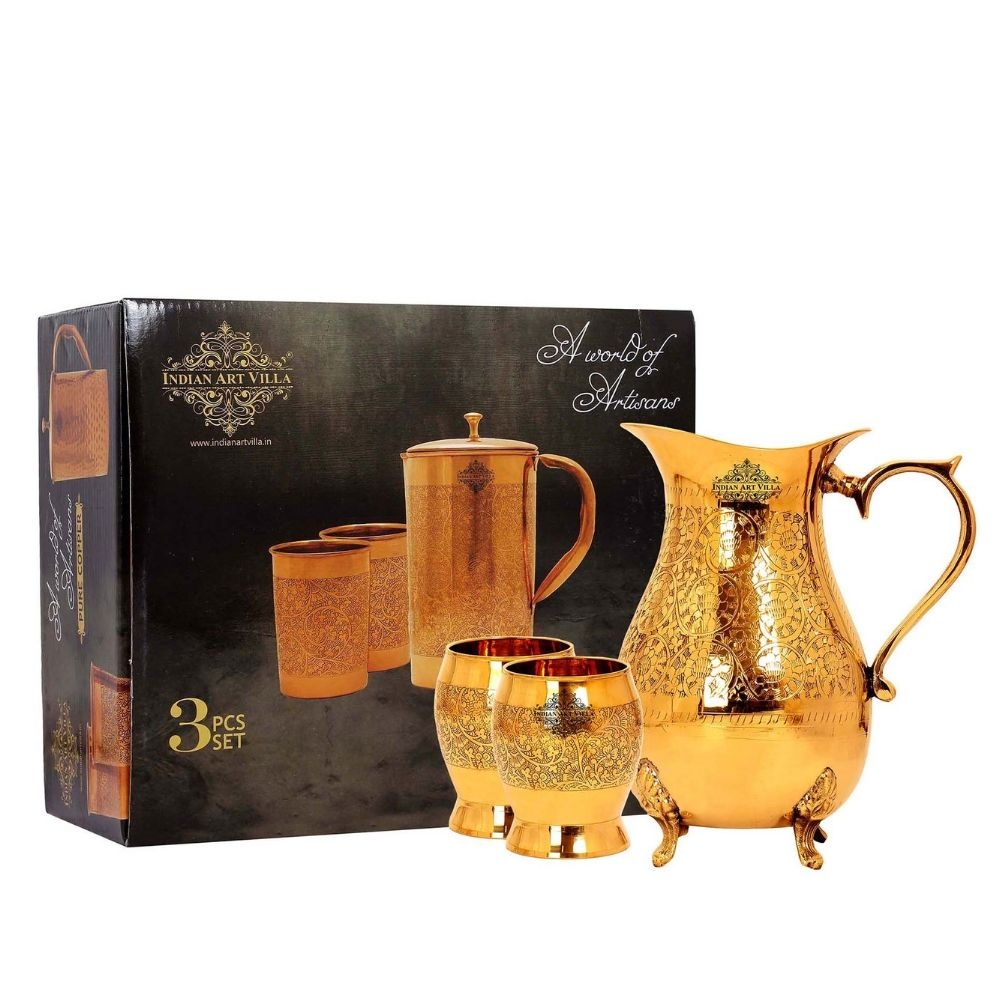 Brass Handmade Design Set of Jug & Glass with Box,Surahi Deisgn drinkware gift set,jug with glass gift set