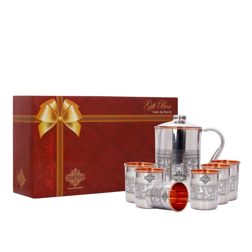Steel copper Jug with 6 Tumbler gift set