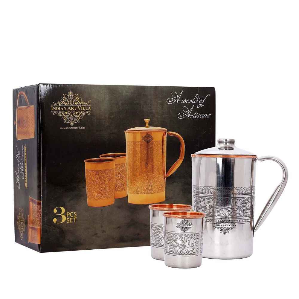 Steel Copper Embossed Design Jug & Glass With Box
