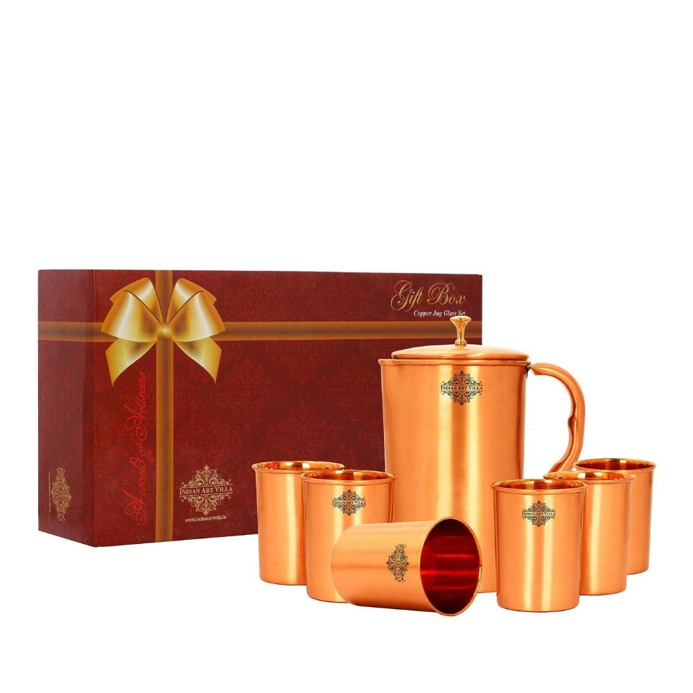 Copper Lacquer Coated Jug With 6 Glass Gift Set