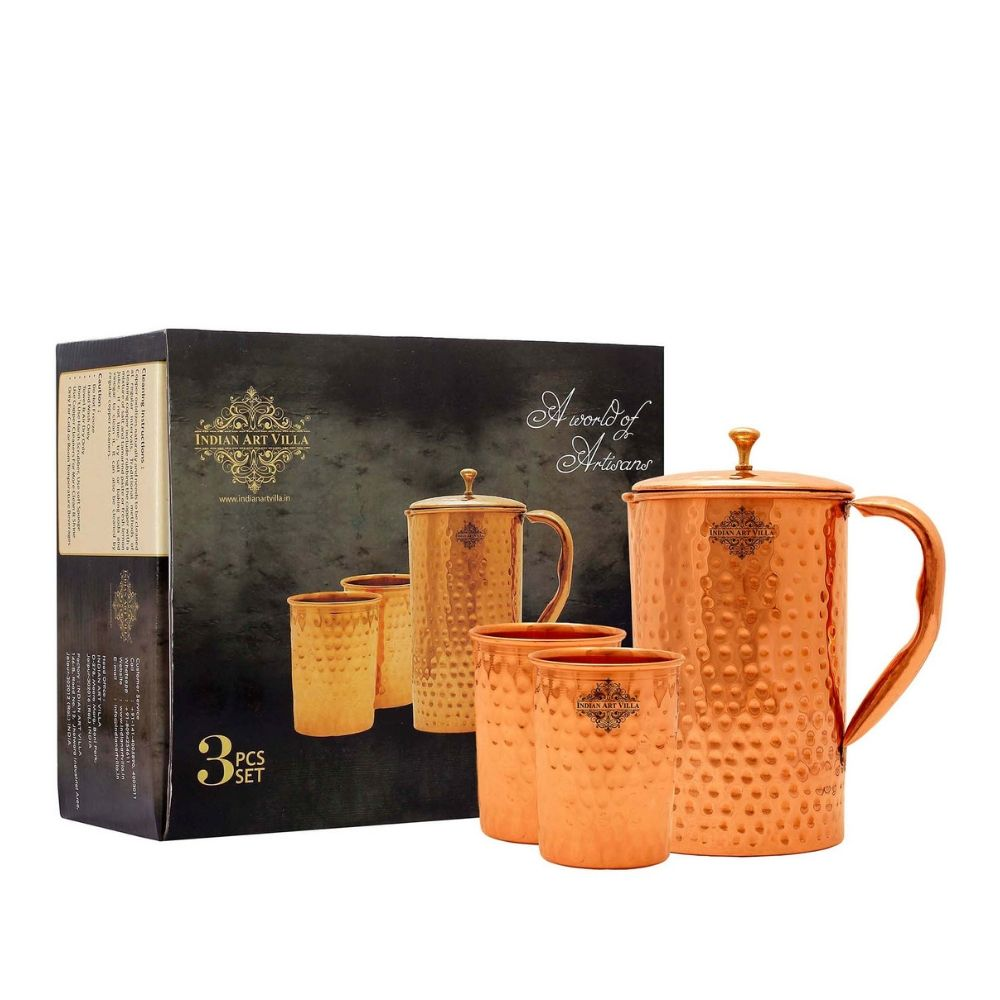 Copper Hammered Jug & Glass with Box