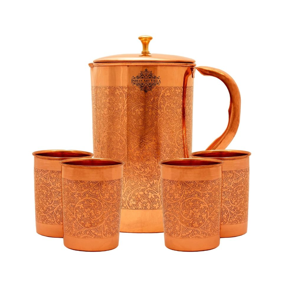 Copper Embossed Jug & Glass with Box