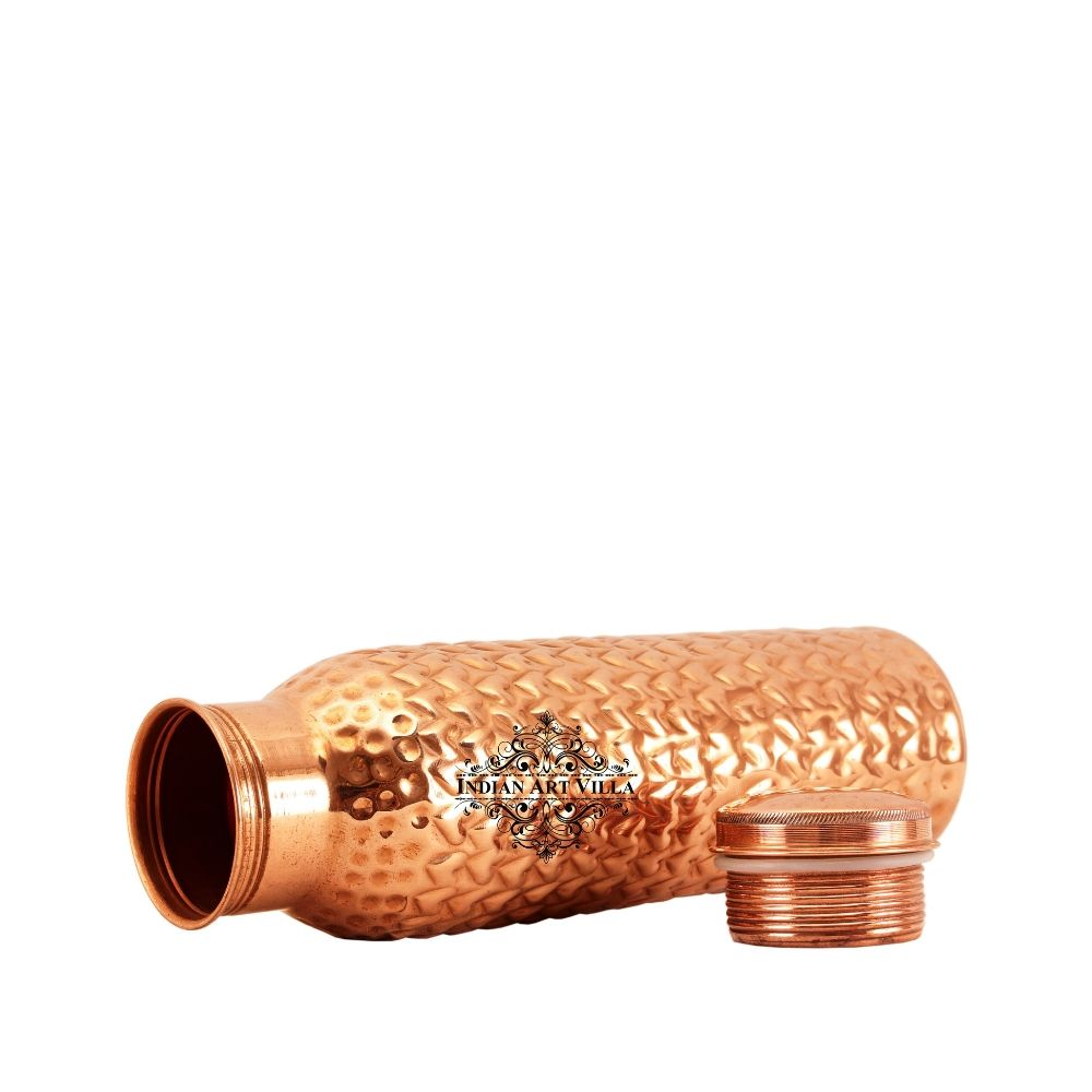 Pure Copper Bottle, Heart Hammered Design,  Leak Proof water Bottle