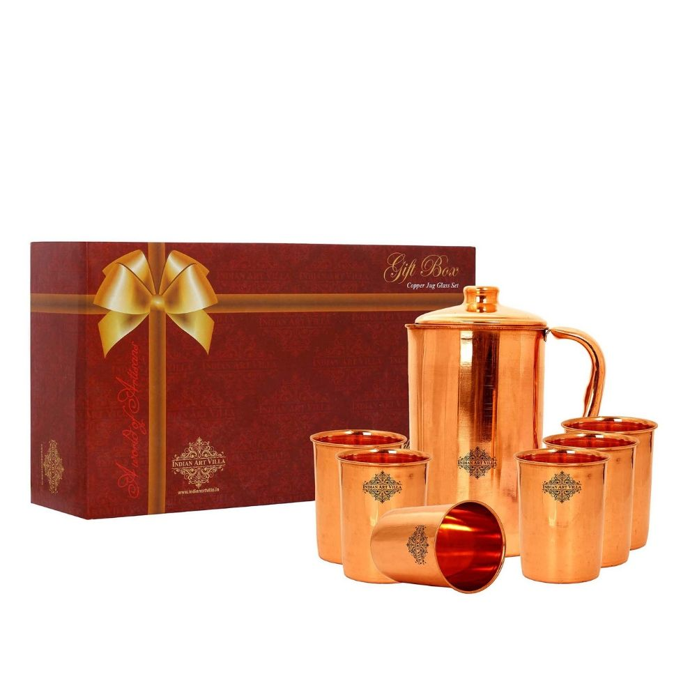 Copper Plain Jug & Glass with Box