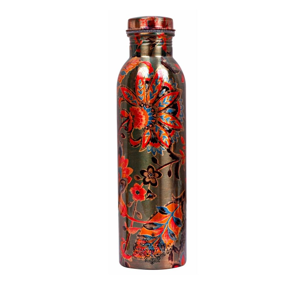 Pure Copper Bottle, Printed Flower Design, Outside Lacquer Coated water Bottle