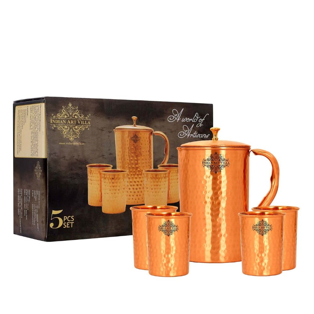 Copper Hammered Lacquer Coated Jug & Glass with Box