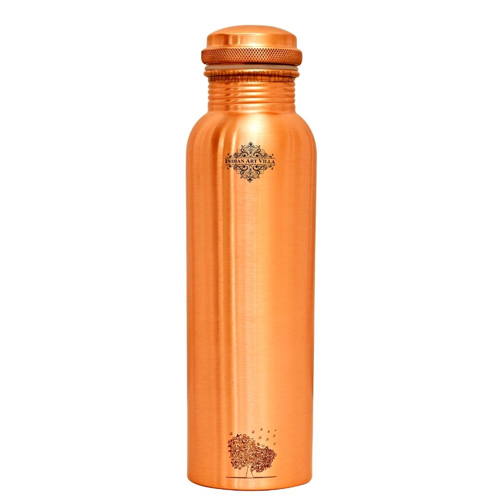 Pure Copper Bottle, Engraved Tree Design Leak Proof Water Bottle