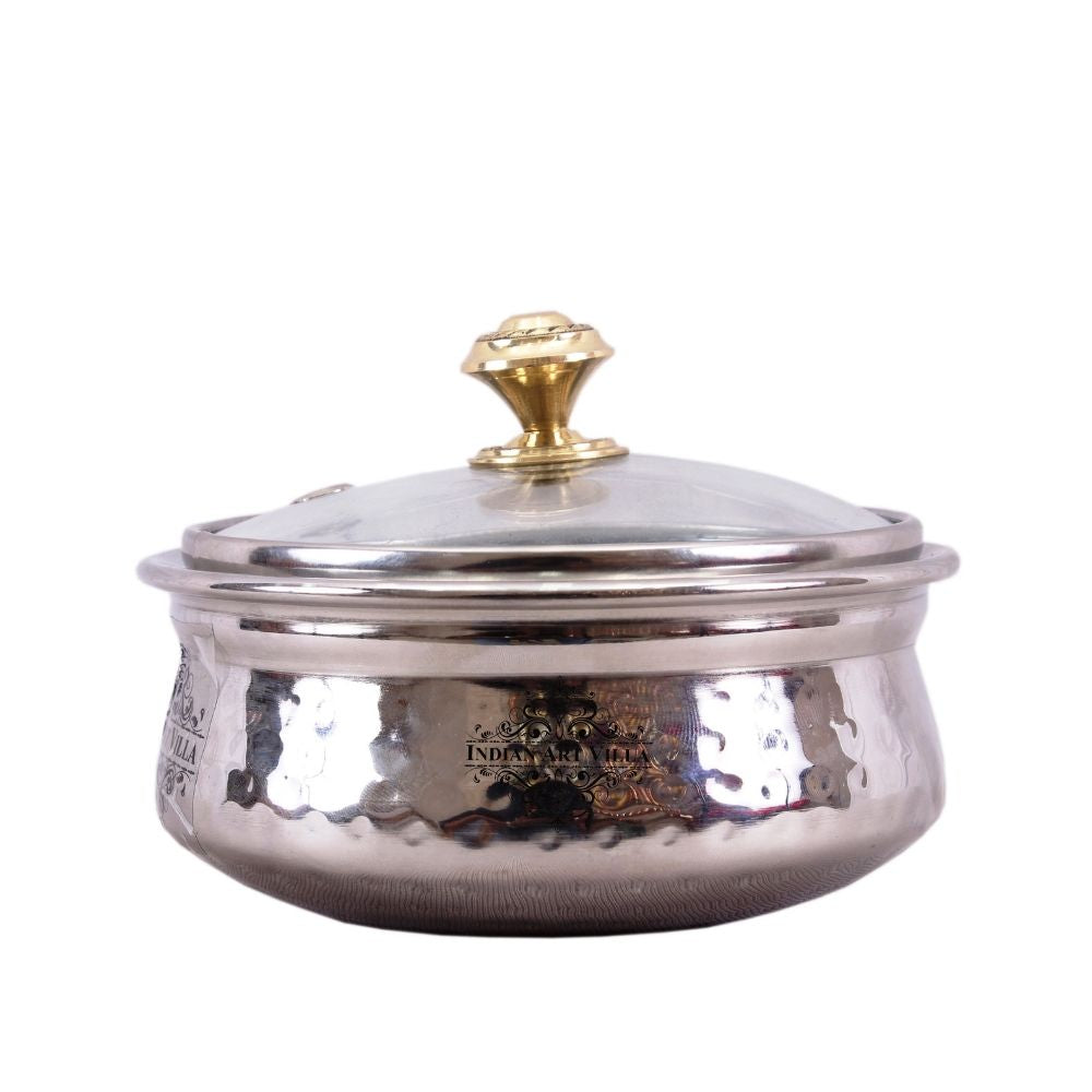 Stainless Steel Hammered Dish Serving Handi with Glass Lid