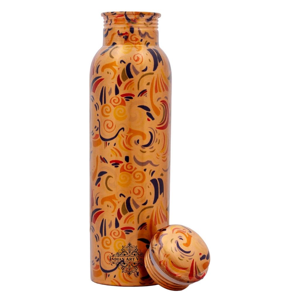 Copper Bottle, Printed Design, Joint Free Leak Proof water Bottle