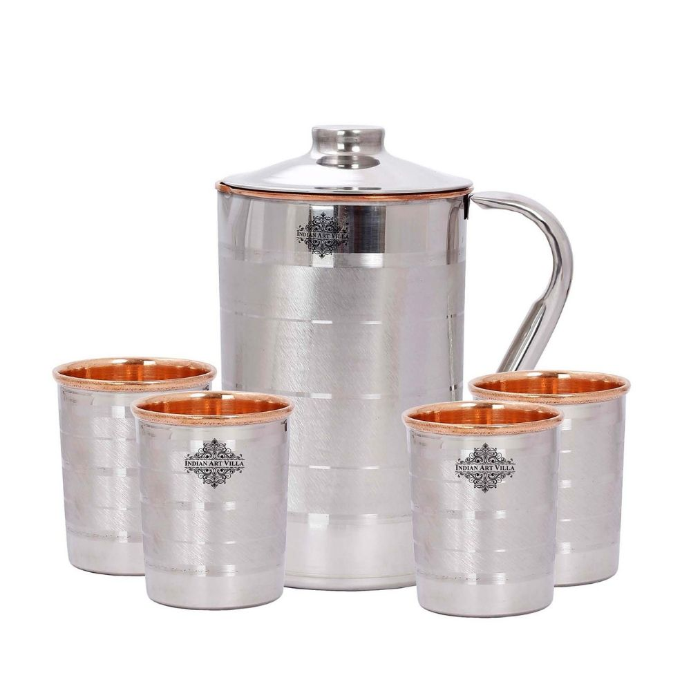 Steel Copper Luxury Jug Pitcher With Glass Tumbler Gift Set