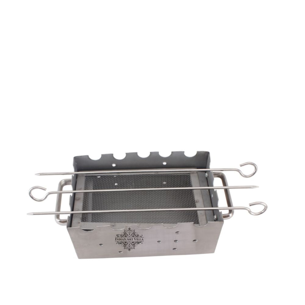 Steel Rectangular Barbecue Griller with 3 Skewers