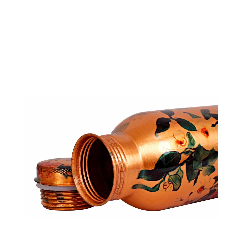 Pure Copper Bottle, Flower Design, Outside Printed Lacquer Coated water Bottle