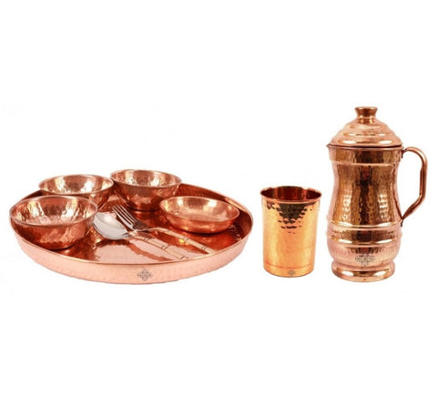 Pure Copper 9 Piece Dinner Set for Home and Restaurant