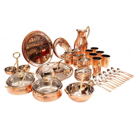 Steel Copper 63 Piece Dinner Set for Tableware Kitchen & Dining