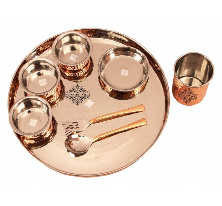 Steel Copper Hammer Design 8 Piece Dinner Set Thali Set