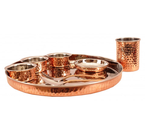 Steel Copper Hammered 8 Piece Dinner Set Thali Set