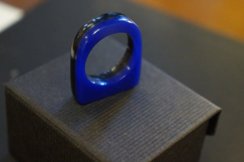 Ring made from recycled blue and black transparent perspex - by Australian Jewellery artist