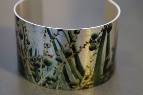 Aluminium Cuff with Flora image By Barracuda Studio Gallery made in Australia / Warren Iannello