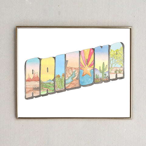 Arizona Watercolor Postcard
