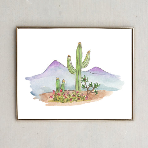 Mountain and Cactus Watercolor