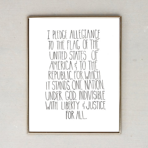 Watercolor Lettering Pledge of Allegiance